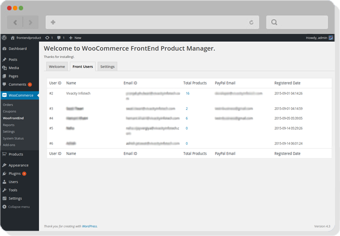 Woocommerce frontend pro product manager