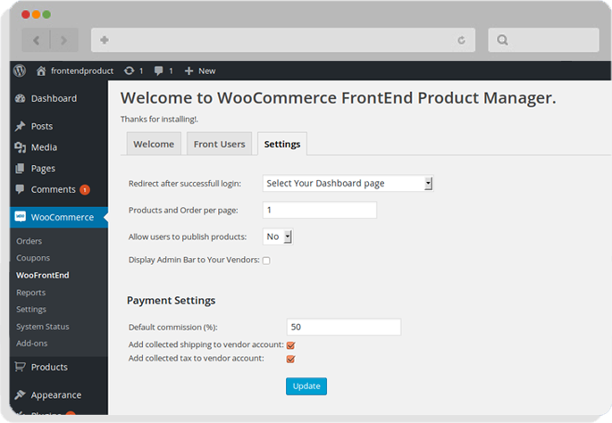 woocommerce frontend plugin