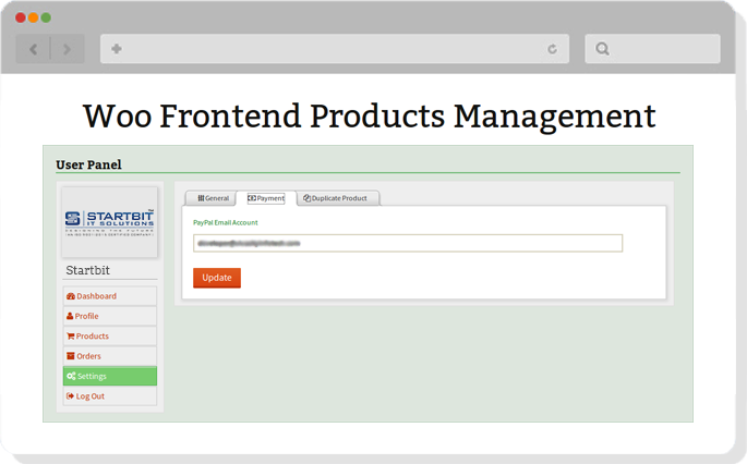 product management in woocommerce store in frontend
